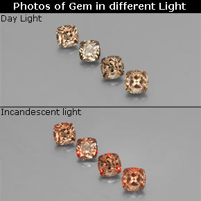 Golden Brown to Orange Color-Change Garnet Gem - 0.5ct Cushion-Cut (ID: 346361)