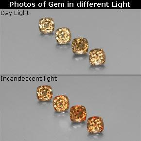 Golden Brown to Orange Color-Change Garnet Gem - 0.6ct Cushion-Cut (ID: 346362)