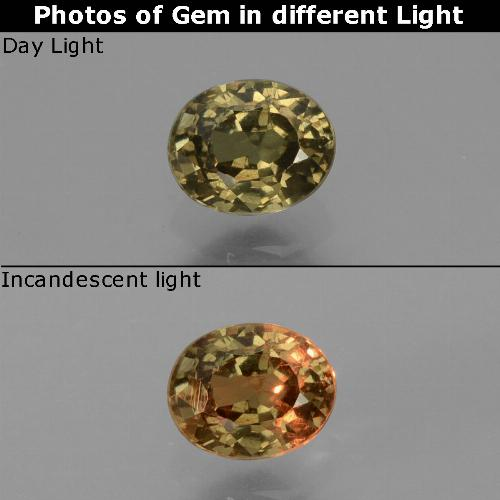 Greenish Brown to Orange Color-Change Garnet Gem - 0.7ct Oval Facet (ID: 429005)