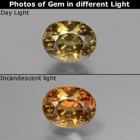 Greenish Brown To Red Pink Color-Change Garnet Gem - 1.3ct Oval Facet (ID: 429484)