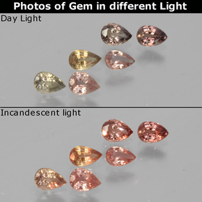 Multicolor Color-Change Sapphire Gem - 0.2ct Pear Facet (ID: 403908)