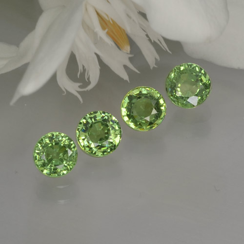 Green Demantoid Garnet Gem - 0.4ct Round Facet (ID: 259963)