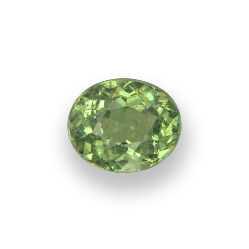 Medium Green Demantoid Garnet Gem - 0.6ct Oval Facet (ID: 458196)