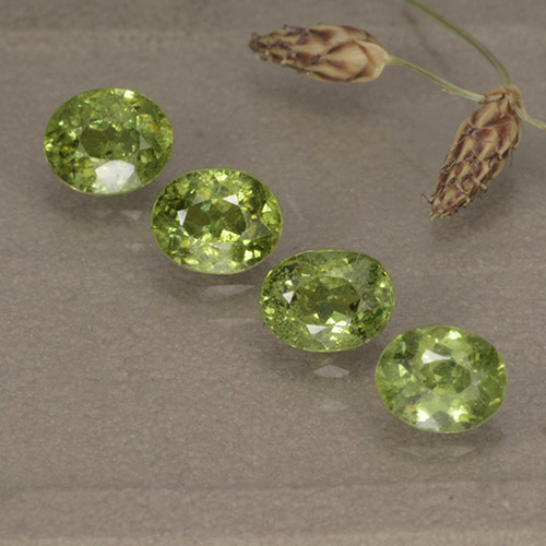 Golden Green Demantoid Garnet Gem - 0.5ct Oval Facet (ID: 498891)