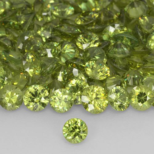 Medium Light Green Granato demantoide Gem - 0.2ct Taglio brillante (ID: 519036)
