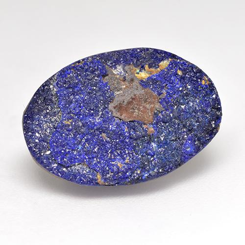 Deep Navy Blue Druzy Azurite Gem - 6.2ct Oval Crystal Cluster (ID: 529724)