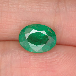 1.6ct Oval Facet Warm Green  Emerald Gem (ID: 299227)