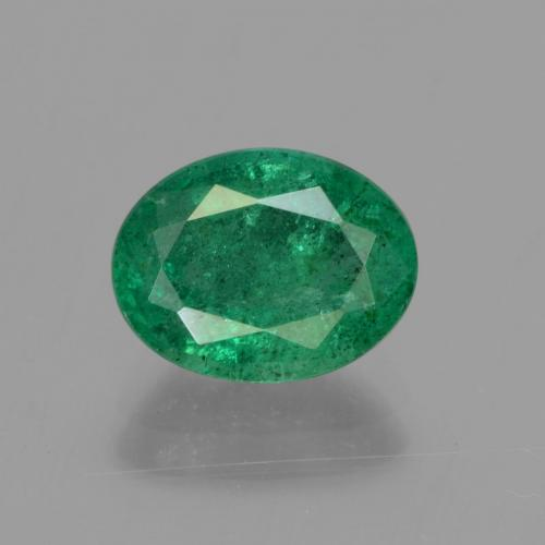 1.6ct Oval Facet Medium Green Emerald Gem (ID: 299232)