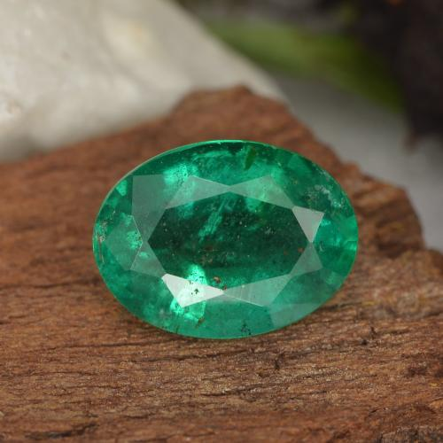 1.5ct Oval Facet Electric Green Emerald Gem (ID: 299234)