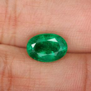 1.6ct Oval Facet Electric Green Emerald Gem (ID: 342000)