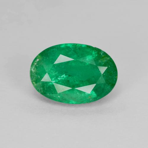1.7ct Oval Facet Warm Green Emerald Gem (ID: 342001)