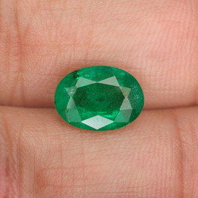 2ct Oval Facet Cool Green Emerald Gem (ID: 342004)