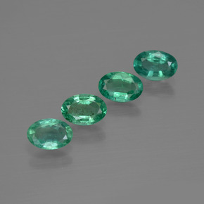 0.4ct Oval Facet Bluish Green Emerald Gem (ID: 412069)