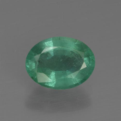 1.6ct Oval Facet Cool Green Emerald Gem (ID: 412130)