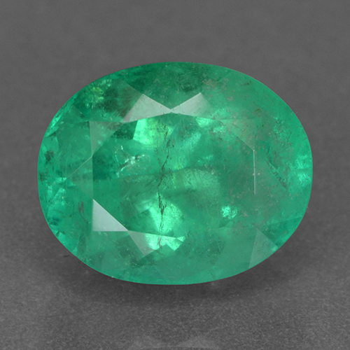 2.5ct Oval Facet Forest Green Emerald Gem (ID: 500379)