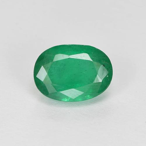 0.9ct Oval Facet Warm Green Emerald Gem (ID: 505011)
