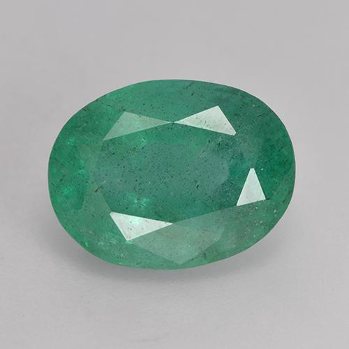 4.2ct Oval Facet Medium-Light Green Emerald Gem (ID: 530654)