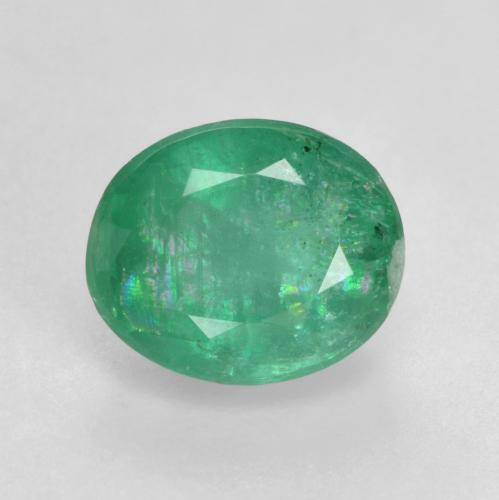 1.1ct Oval Facet Bright Green Emerald Gem (ID: 535846)