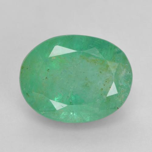 1.4ct Oval Facet Light Green Emerald Gem (ID: 535920)
