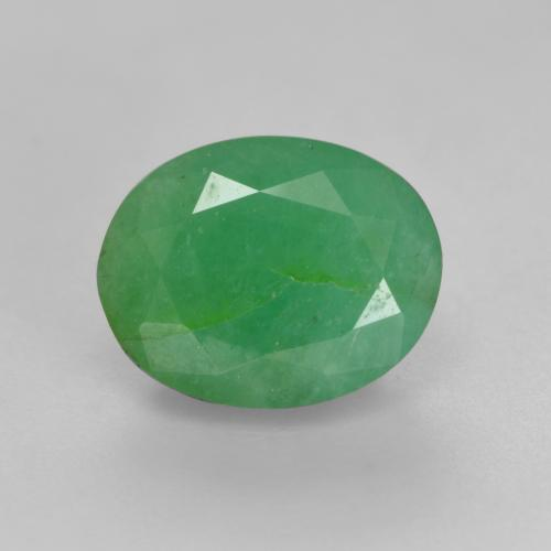 1.8ct Oval Facet Medium light Green Emerald Gem (ID: 536025)