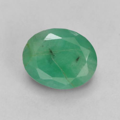 1.3ct Oval Facet Light Green Emerald Gem (ID: 536032)