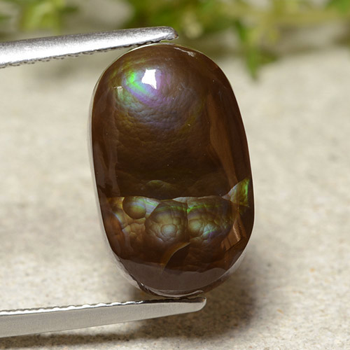 Multicolor Fire Agate Gem - 6.2ct Oval Cabochon (ID: 486660)