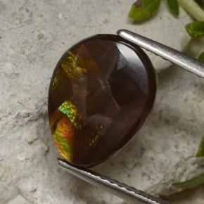 Multicolor Fire Agate Gem - 5.1ct Pear Cabochon (ID: 486738)