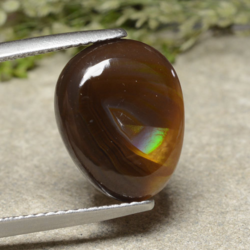 Multicolor Fire Agate Gem - 5.4ct Pear Cabochon (ID: 487195)