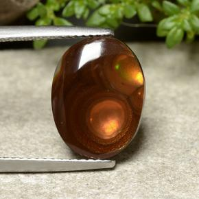 Multicolor Fire Agate Gem - 4.6ct Oval Cabochon (ID: 488070)