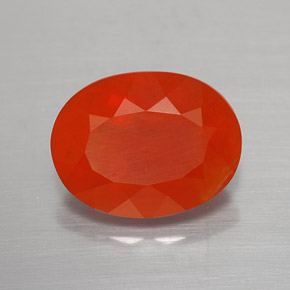 Orange Red Fire Opal Gem - 3.2ct Oval Facet (ID: 366922)