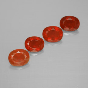 Orange Red Fire Opal Gem - 0.5ct Oval Facet (ID: 367219)