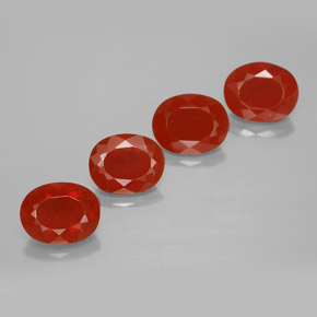 Orange Red Fire Opal Gem - 1.1ct Oval Facet (ID: 367224)
