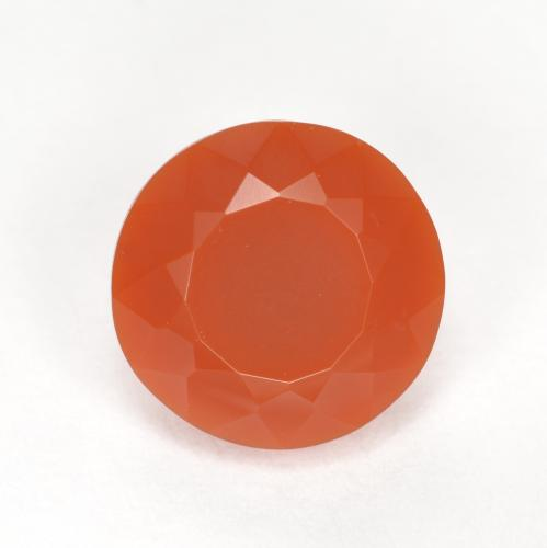 Reddish Orange Fire Opal Gem - 1.2ct Round Facet (ID: 369572)