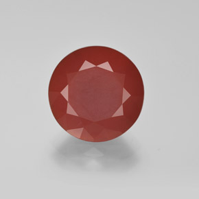 4.74 ct Diamond-Cut Reddish Orange Fire Opal Gemstone 12.34 mm  (Product ID: 369676)