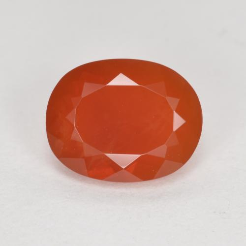 Orange Red Fire Opal Gem - 1.3ct Oval Facet (ID: 370283)