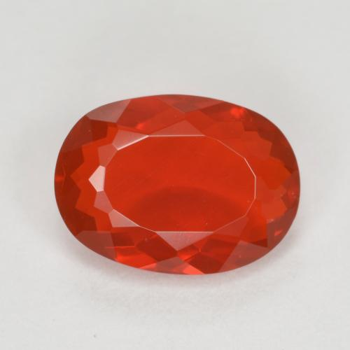 0.8ct Oval Facet Reddish Orange Fire Opal Gem (ID: 383204)