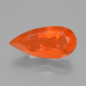 2.36 ct Pear Facet Orange Fire Opal Gem 15.64 mm x 7.6 mm (Photo A)