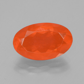 2.58 ct Oval Facet Orange Fire Opal Gemstone 13.91 mm x 8.7 mm (Product ID: 431615)