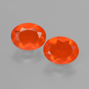 Orange Fire Opal Gem - 0.6ct Oval Facet (ID: 431932)
