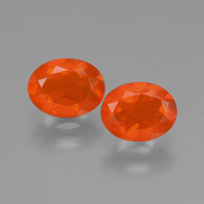 0.70 ct Oval Facet Deep Reddish Orange Fire Opal Gemstone 7.60 mm x 5.9 mm (Product ID: 431971)