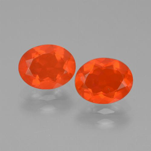 Deep Reddish Orange Fire Opal Gem - 0.7ct Oval Facet (ID: 431975)
