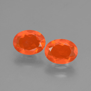 Orange Fire Opal Gem - 0.7ct Oval Facet (ID: 432149)