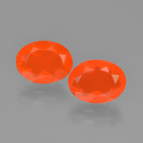 Bright Orange Fire Opal Gem - 0.8ct Oval Facet (ID: 449539)