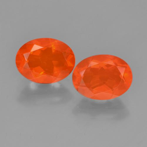 Orange Fire Opal Gem - 0.8ct Oval Facet (ID: 449559)