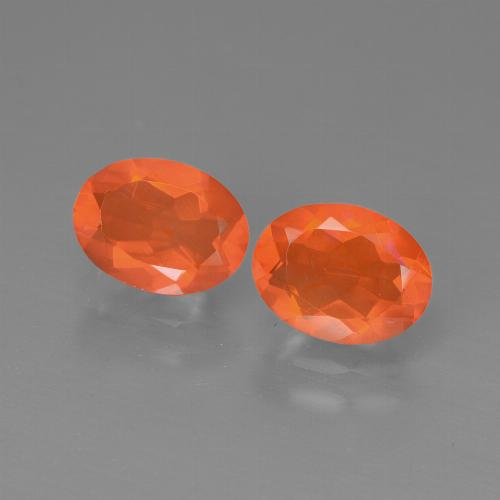 Orange Fire Opal Gem - 0.9ct Oval Facet (ID: 449569)
