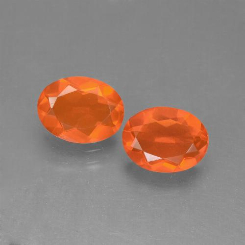 Orange Fire Opal Gem - 0.6ct Oval Facet (ID: 449577)
