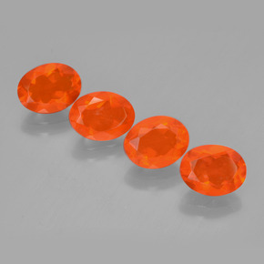 Orange Fire Opal Gem - 0.8ct Oval Facet (ID: 449588)