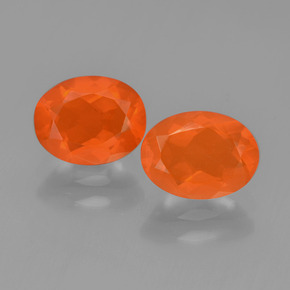 Intense Orange Fire Opal Gem - 0.8ct Oval Facet (ID: 450405)