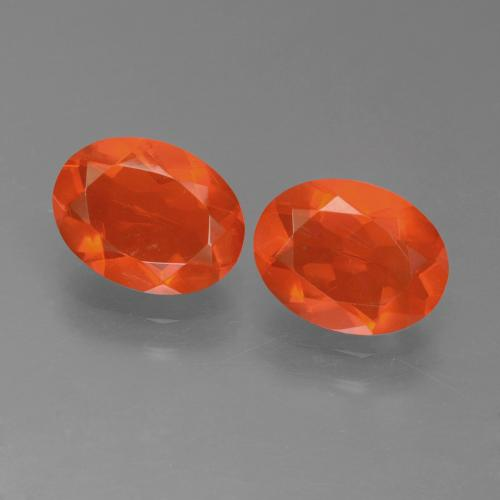 Deep Reddish Orange Fire Opal Gem - 0.7ct Oval Facet (ID: 450556)