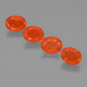 0.6ct Oval Facet Deep Reddish Orange Fire Opal Gem (ID: 454023)